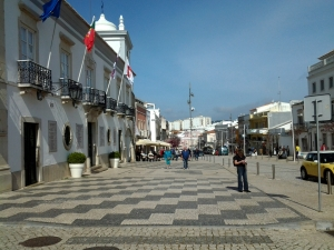 One of the main street sidewalks in Loule